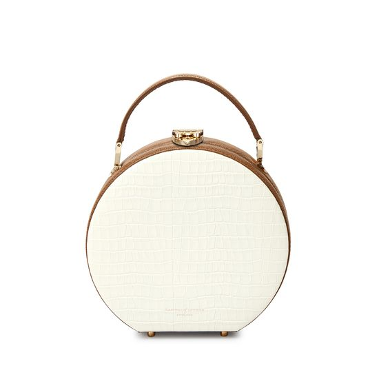 Mini Hat Box Bag in Deep Shine Ivory Small Croc & Camel Lizard from Aspinal of London