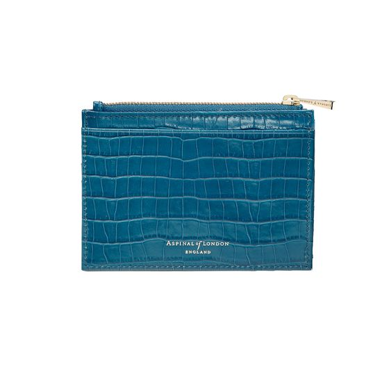 Double Sided Zipped Card & Coin Holder in Deep Shine Topaz Small Croc from Aspinal of London