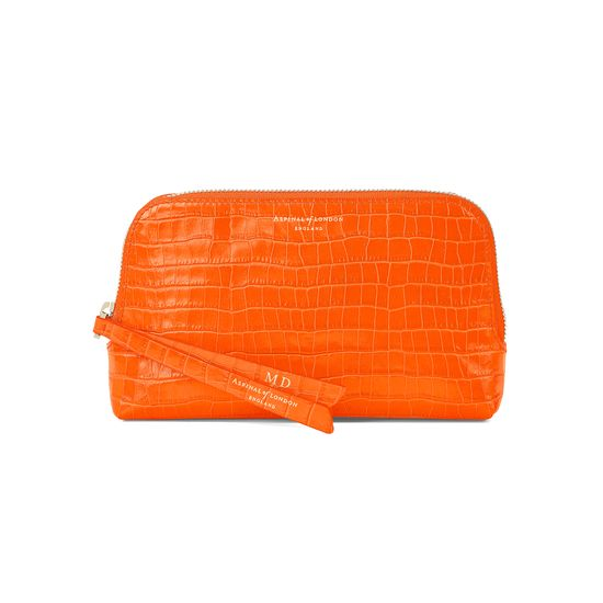 Small Essential Cosmetic Case in Deep Shine Amber Small Croc from Aspinal of London