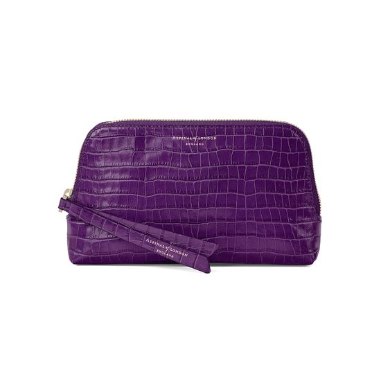Small Essential Cosmetic Case in Deep Shine Amethyst Small Croc from Aspinal of London