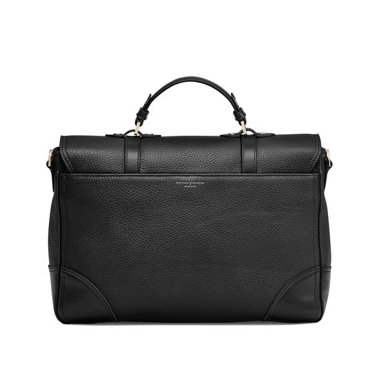 Large City Mollie Satchel in Black Pebble from Aspinal of London