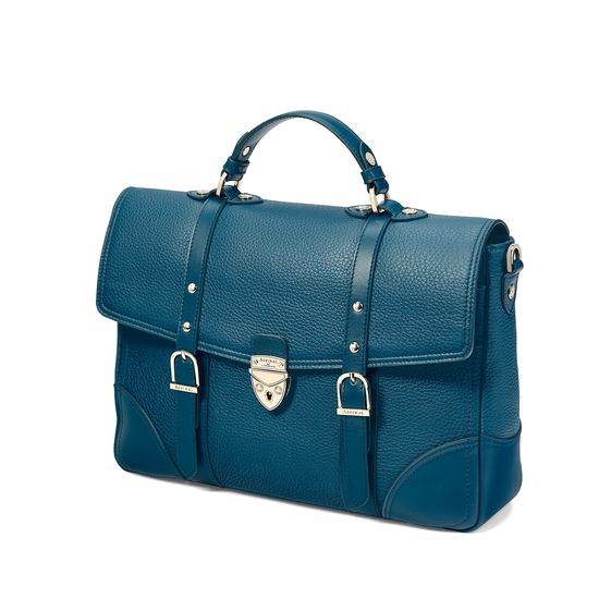 Large City Mollie Satchel in Topaz Pebble from Aspinal of London