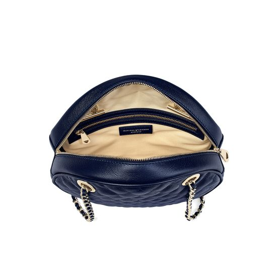 Jackie 'O' Bag in Navy Quilted Kaviar from Aspinal of London