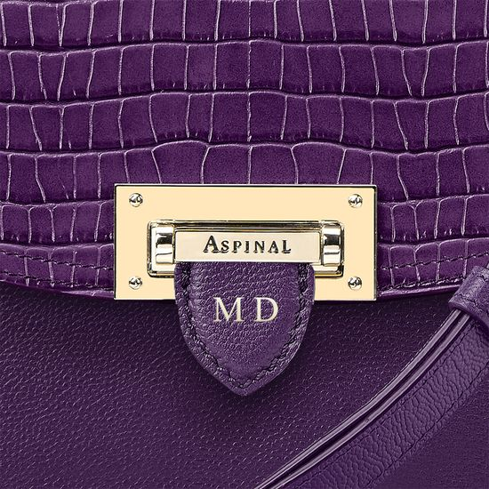 Letterbox Saddle Bag in Deep Shine Amethyst Small Croc from Aspinal of London