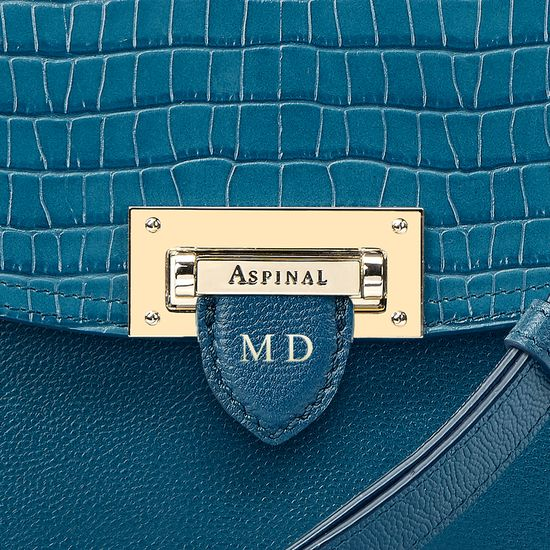 Letterbox Saddle Bag in Deep Shine Topaz Small Croc from Aspinal of London