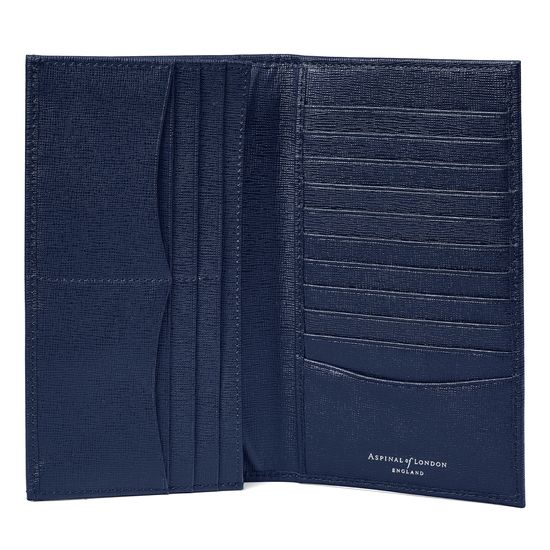 Large Breast Pocket Wallet in Navy Saffiano from Aspinal of London