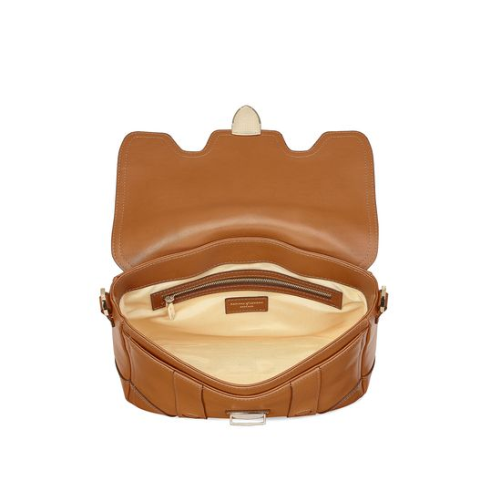 Small Country Mollie Satchel in Smooth Tan from Aspinal of London