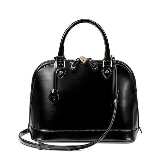 Hepburn Bag in Black Polish from Aspinal of London