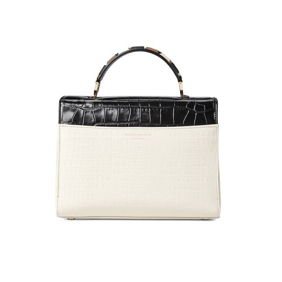 Mayfair Bag in Deep Shine Ivory & Black Croc from Aspinal of London