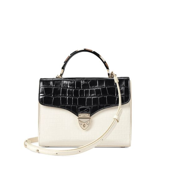 Mayfair Bag in Deep Shine Ivory & Black Croc with Stripe Strap from Aspinal of London