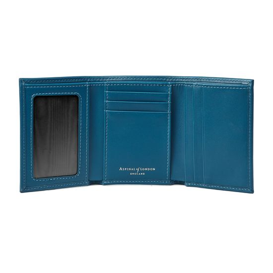 Trifold Wallet in Smooth Peacock from Aspinal of London