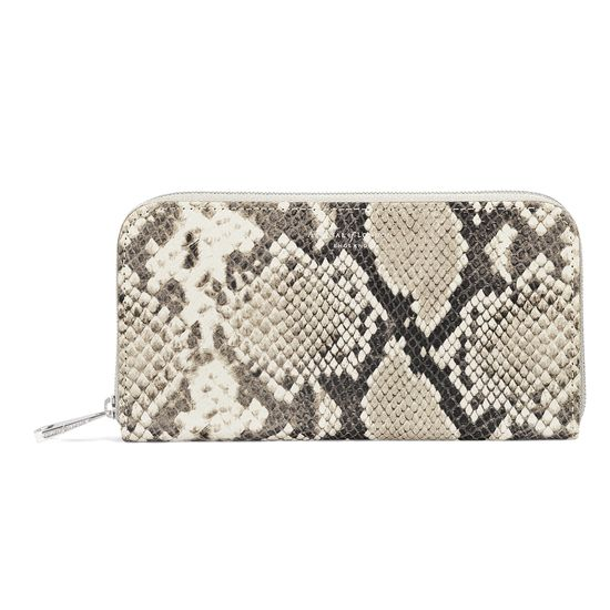 Continental Clutch Zip Wallet in Embossed Natural Python from Aspinal of London