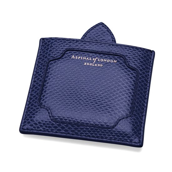 Marylebone Compact Mirror in Midnight Blue Lizard from Aspinal of London