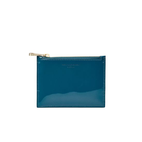 Small Essential Flat Pouch in Peacock Pearl Patent from Aspinal of London