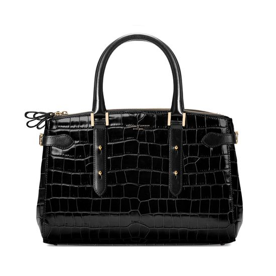 Brook Street Bag in Black Croc with Gold Hardware from Aspinal of London