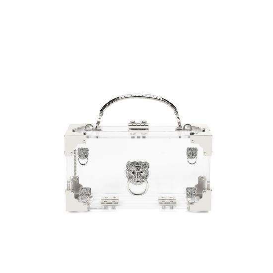 Lion Trinket Box in Transparent Acrylic with Silver Hardware from Aspinal of London