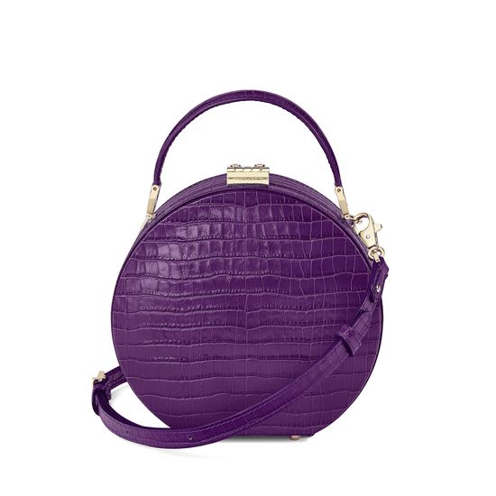 Mini Hat Box Bag in Deep Shine Amethyst Small Croc from Aspinal of London
