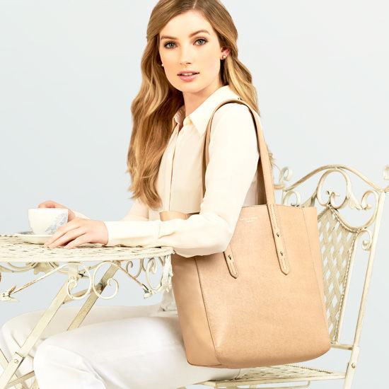 Essential Tote in Smooth Natural Tan & Cream Suede from Aspinal of London