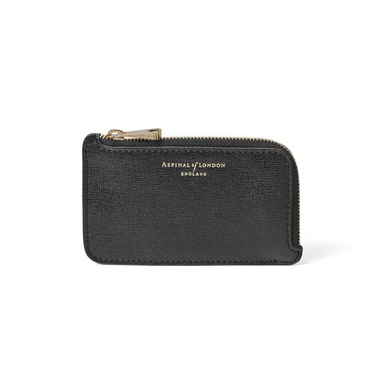 Small Zipped Coin Purse in Black Saffiano from Aspinal of London
