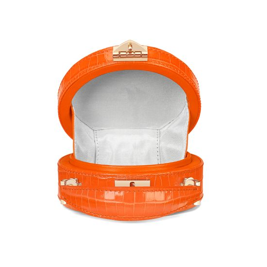 Micro Hat Box in Deep Shine Amber Small Croc from Aspinal of London