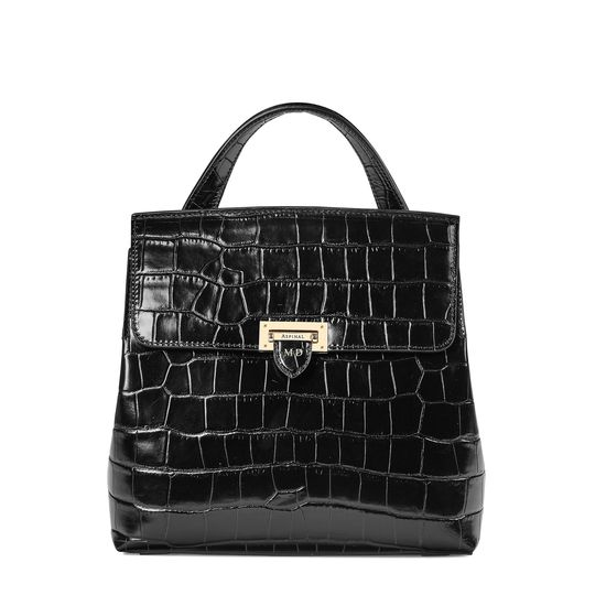 Soho Backpack in Deep Shine Black Croc with Deco Embroidered Strap from Aspinal of London