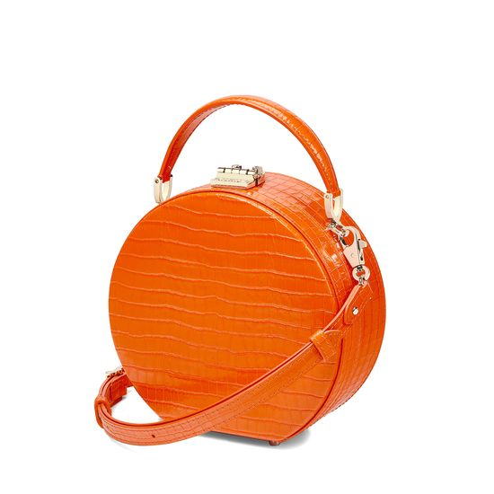 Mini Hat Box Bag in Deep Shine Amber Small Croc from Aspinal of London