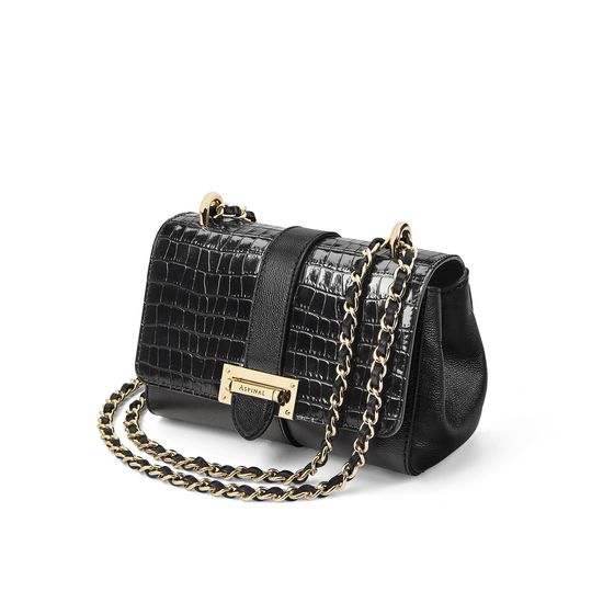 Micro Lottie Bag in Deep Shine Small Black Croc from Aspinal of London