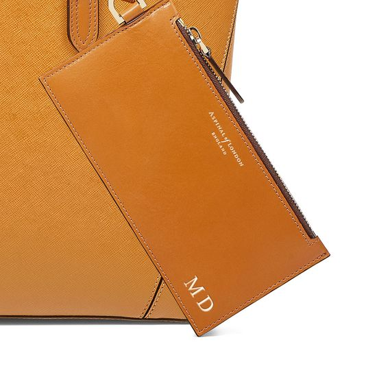 Essential Tote in Mustard Saffiano (with A-Stitched Side Panels) from Aspinal of London