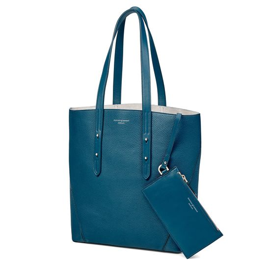 Essential Tote in Topaz Pebble (with A-Stitched Side Panels) from Aspinal of London