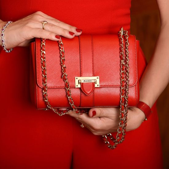 Small Lottie Bag in Scarlet Saffiano from Aspinal of London