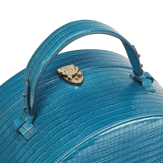 Large Hat Box in Deep Shine Topaz Small Croc from Aspinal of London