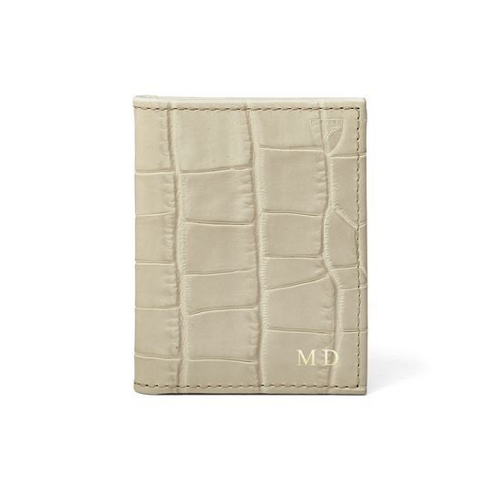 ID & Credit Card Case in Soft Taupe Croc from Aspinal of London