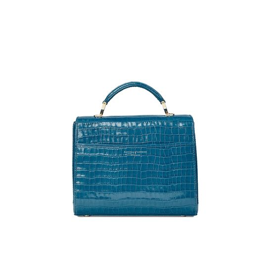 Midi Mayfair Bag in Deep Shine Topaz Small Croc from Aspinal of London