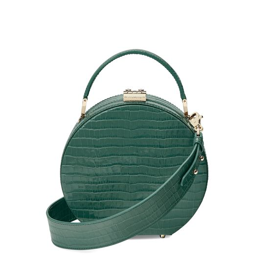 Mini Hat Box Bag in Deep Shine Sage Small Croc from Aspinal of London