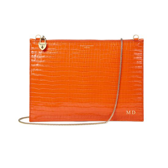Soho Clutch in Deep Shine Amber Small Croc from Aspinal of London