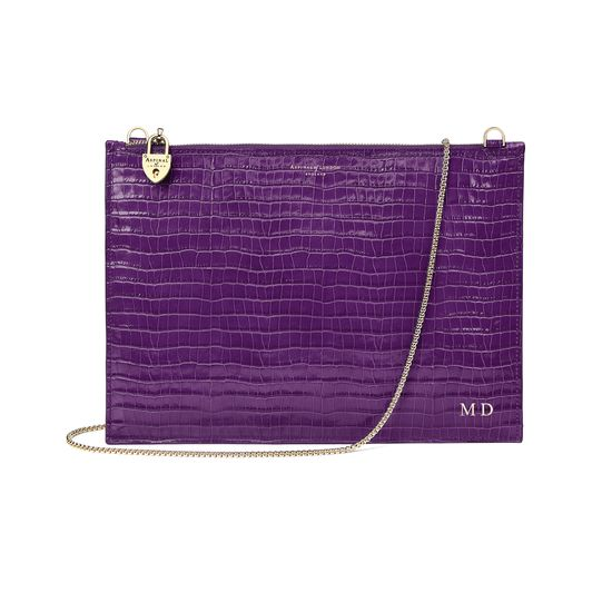 Soho Clutch in Deep Shine Amethyst Small Croc from Aspinal of London