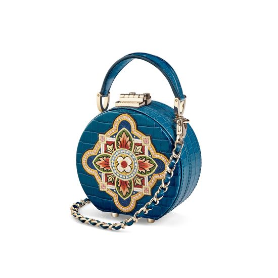 Micro Hat Box in Deep Shine Topaz Small Croc with Tudor Embroidery from Aspinal of London