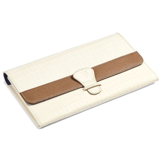 Classic Travel Wallet Deep Shine Ivory Small Croc & Camel Lizard from Aspinal of London