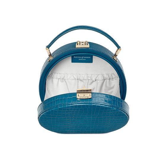 Mini Hat Box Bag in Deep Shine Topaz Small Croc from Aspinal of London