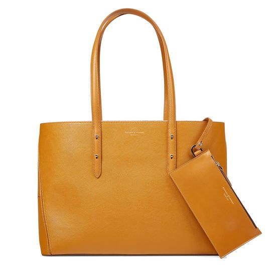 Regent Tote in Mustard Saffiano (with A-Stitched Side Panels) from Aspinal of London