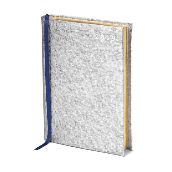 A6 Day to Page Leather Diary in Silver Saffiano from Aspinal of London