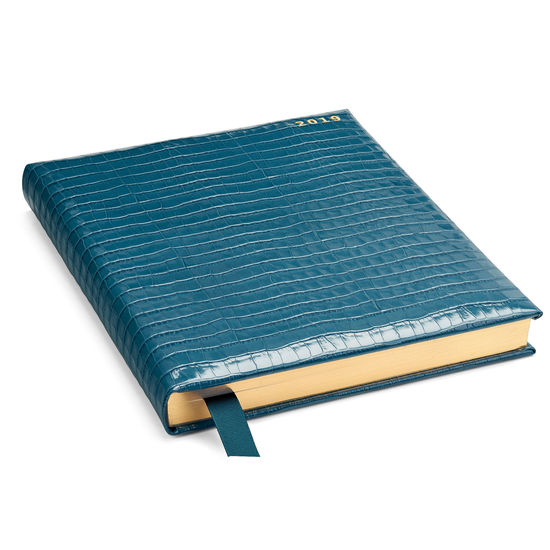 Quarto A4 Day to Page Leather Diary in Deep Shine Topaz Small Croc from Aspinal of London
