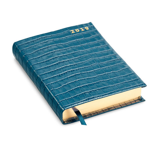 A6 Day to Page Leather Diary in Deep Shine Topaz Small Croc from Aspinal of London