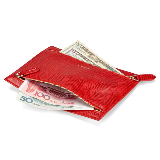 Multi Currency Wallet in Berry Lizard from Aspinal of London