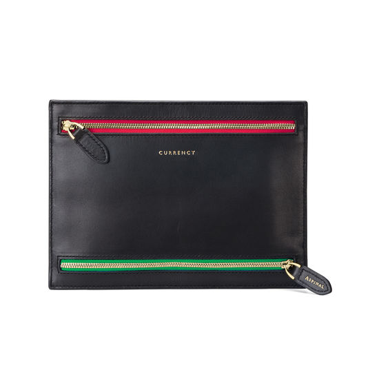 Multi Currency Wallet in Smooth Black from Aspinal of London