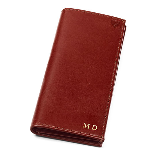 Slim Breast Pocket Wallet in Smooth Cognac & Espresso Suede from Aspinal of London