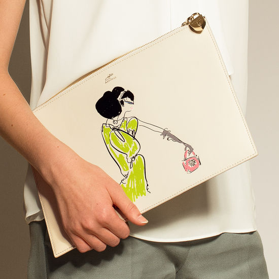 Giles x Aspinal (Soho Clutch - Girl Print) from Aspinal of London