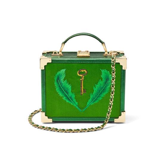 Giles x Aspinal (Mini Trunk - Green Satin) from Aspinal of London
