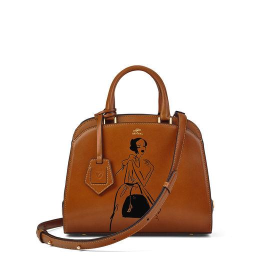 Giles x Aspinal (Mini Hepburn Bag - Smooth Tan) from Aspinal of London