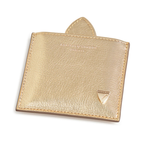 Compact Mirror in Pale Gold Pebble from Aspinal of London